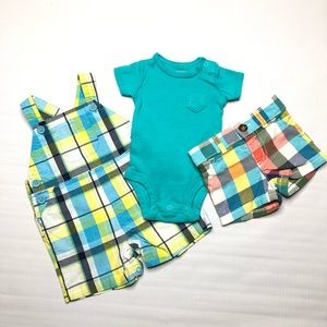 Infant Boys Outfit Shorts Overalls Shirt